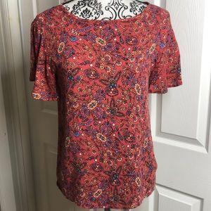 Cloudchaser Pink Blue Back Tie Top S Floral